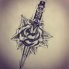 New traditional dagger / Rose tattoo sketch by  - Ranz