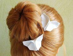 MARIAGE: papillons origami en soie blanc ivoire, accessoires de mode pour cheveux, pinces, barrettes raffinées & romantiques en tissu