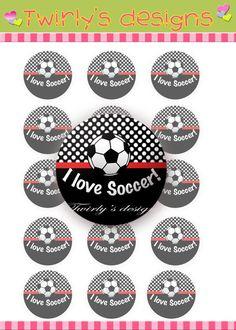 "I love Soccer 1"" Bottle cap images - 4 X 6 Digital collage sheet Bottle cap necklace Bottle cap bracelet Bottle cap key chains on Etsy, $1.50"