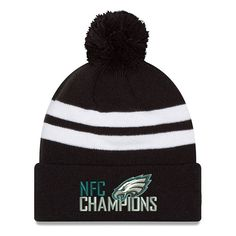 Men s New Era Black Philadelphia Eagles 2017 NFC Champions Top Stripe Knit  Hat 592d433ad