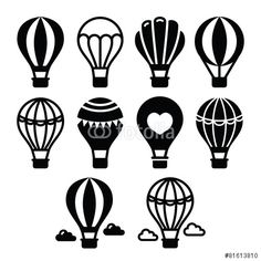 TRAVEL icon idea Vektor: Hot air balloon and clouds icons set Balloon Logo, Air Balloon Tattoo, Air Ballon, Hot Air Balloon, Balloon Painting, Rock Painting, Cloud Icon, Line Art, Stock Foto