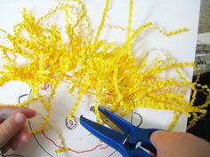 create a person art activity. then after, give it a hair-cut. What a cute idea! left over Easter grass scissor practice Cutting Activities, Motor Activities, Learning Activities, Preschool Activities, Space Activities, Physical Activities, Dementia Activities, Preschool Learning, Preschool Classroom