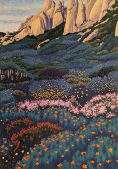 I love all of the detail in this field of flowers. Painting Inspiration, Art Inspo, Guache, Art Prints, Lino Prints, Block Prints, Art Graphique, Aesthetic Art, Amazing Art