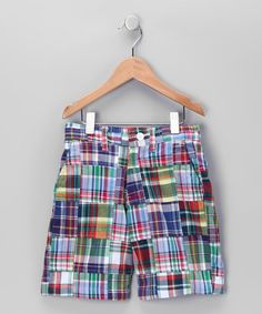 Take a look at this Castaway Blue & Red Wanoma Patch Plaid Shorts - Toddler & Boys by Vacation Getaway: Kids' Apparel on #zulily today!