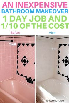 Tile reglazing - An expensive way to remodel your bathroom for 1/10 of the cost.  Reglaze your pink, yellow, blue or green tile and make it white. TheFlooringGirl.