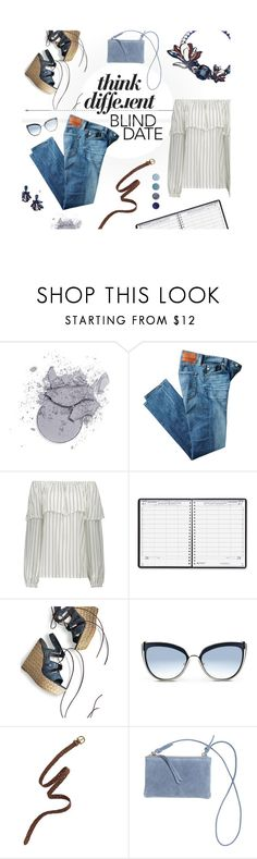 """Blind Date: Think Different"" by jillnmitchell ❤ liked on Polyvore featuring AG Adriano Goldschmied, House of Doolittle, Stuart Weitzman, Karl Lagerfeld, Madewell, H&M, Tory Burch and Terre Mère"