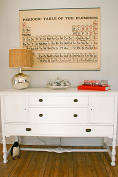 Wall Color, Painted Dresser For Sideboard, Metal+natural Fiber Lamp, Vintage  Periodic Table.