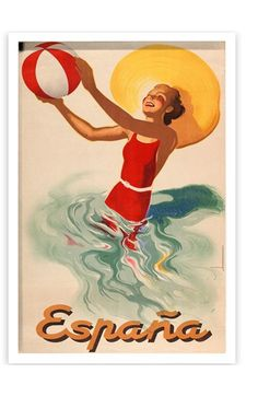 Oliver+Gal+'Espana+Playa+1920s'+Framed+Art+Print+available+at+#Nordstrom