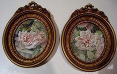 Roses Frame s Vintage Homco French Ribbon Barbola Matching Pair