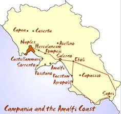 Campania map and amalfi coast map