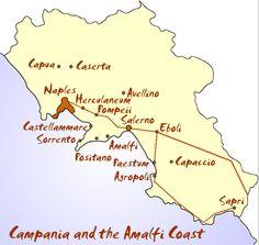 Campania map and amalfi coast map