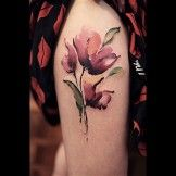 Abstract Poppy Flowers Tattoo