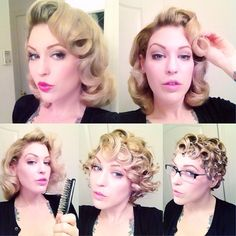 Aaaaand here's the process from #pincurls to full style.  I will be teaching a class on this at @fannysfoxden in #Tucson on Nov 30! Learn how to get a gorgeous #vintagehairstyle in my hands-on workshop! #retrohair #wetset #howto #retrohairtutorial