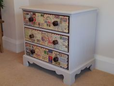 Painted cream Drawers with postage stamp decoupage...maps instead postage stamps...