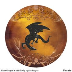 Black dragon in the sky paper plate #S6GTP