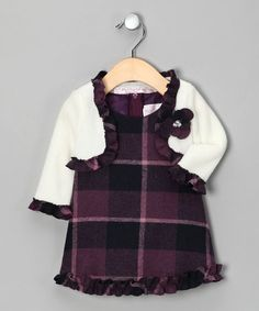 Take a look at this Plum Checkerboard Dress & Bolero - Infant by Sophia Young on #zulily today!