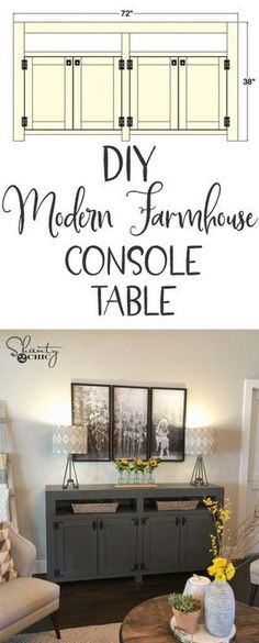 LOVE this Farmhouse Media Console Table! Free woodworking plans and tutorial are at www.shanty-2-chic.com