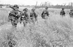 American troops walking through fields during campaign to liberate Caen during WWII. Get premium, high resolution news photos at Getty Images Canadian Soldiers, Canadian Army, Churchill, Champs, Royal Canadian Navy, British Army Uniform, Ww2 Photos, History Images, Military Veterans