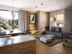 TAROT 2 - projekt małego domku z ciepłym wnętrzem z kominkiem. Studio Krajobrazy. Tarot, Small House Design, My House, Bed, Building, Furniture, Stan, Home Decor, Houses