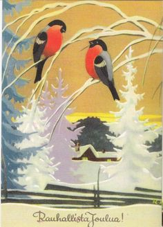 December 2012 - Postcard from Finland Looks like a vintage Martta Wendelin card. Old Christmas, Retro Christmas, Vintage Christmas Cards, Christmas Pictures, Xmas, Christmas Illustration, Illustration Art, Winter Art, Scandinavian Christmas