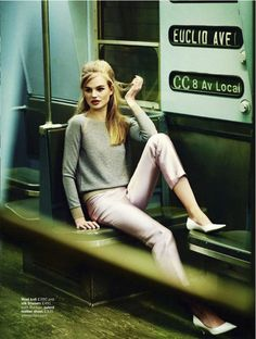 style on 'The Tube.' Milou Sluis in Rochas and Jimmy Choo, Glamour UK, February 2013