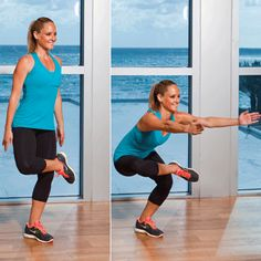 Figure-Four squats for thigh jiggle. Standing on your left leg place your right foot over your left thigh, right knee pointing out to the side. Bend your left knee to perform a squat, then stand back up, keeping your right leg crossed and lowering your arms to your sides. Do 15 reps on each side, repeating for a total of 3 sets.