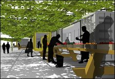 Alexandros Avlonitis's proposal for the competition in 2008 is a program for an urban market in the neighborhood of Castle Hill in The Bronx, NYC. The