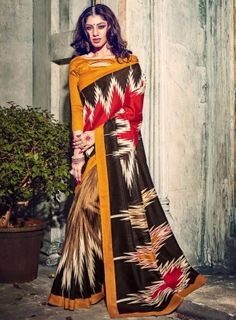 #MusteredYellow Multicolor Printed BhagalPuri Silk #Saree On bhagalpuri silk printed saree alongside a matching blouse and border. This saree is perfect for wears from casual to classy affairs.