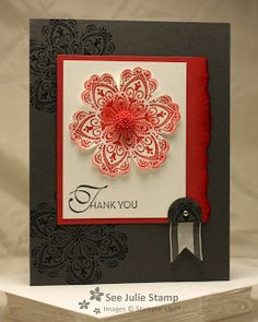 """Stamp Sets: Mixed Bunch, Lacy and Lovely Colors: Basic Gray, Primrose Petals, Whisper White Punches: 3/4"""" Circle, Blossom Embellishments: 1/8"""" Mini Brads, In Color Dahlias, 5/8"""" Organza Ribbon"""