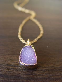 Lilac amethyst druzy Necklace by friedasophie on Etsy