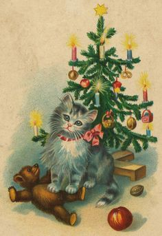 vintage Christmas Kitten with Teddy Bear Cat Christmas Cards, Christmas Kitten, Christmas Graphics, Noel Christmas, Christmas Animals, Retro Christmas, Xmas Cards, Christmas Greetings, Christmas Postcards