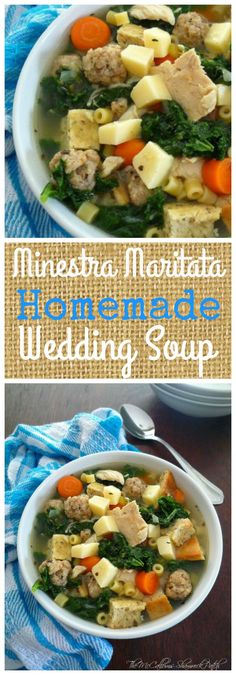 My recipe today for Hearty Minestra Maritata - Wedding Soup combines nutrient-rich kale, endive, carrots, celery, onions, garlic, quality pork, sausage, chicken, Italian Sponges or Croutons, homemade broth, and the perfect blend of Italian herbs and seasoning to make this a hearty Wedding Soup you won't soon forget.