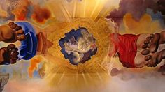 """On the ceiling of the Dali Museum in Figueres """"Gala and Dali Ascending into Heaven"""""""