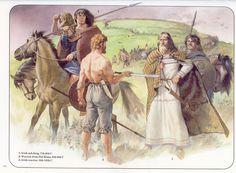 Historical Warrior Illustration Series Part X Irish Mythology, Irish Warrior, Celtic Warriors, History Page, Art History, Early Middle Ages, Historical Art, Musa, Anglo Saxon