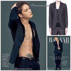 #kimjaejoong wearing @driesvannoten pinstripe wool twill blazer (¥107,000) and cropped trouser pants (¥81,000) for @harpersbazaarjapan June '17 issue. Credit: summer的连衣裙VV on weibo; Harper's Bazaar Japan and Lane Crawford. #jaejoong #김재중 #ジェジュン #korean #celebrity #singer #singersongwriter #theoneandonly #mensfashion #gorgeous #handsome #talent #lookinggood 😉