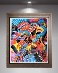 GLASS PAINTING UNIQUE DESIGN MODERN WALL ART PICASO ABSTRACT HUGE HISTORICAL NEW