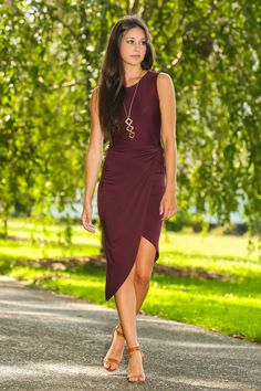 Steppin' Out In The City Dress-Wine - New Today | The Red Dress Boutique