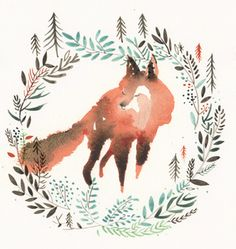 i'm obsessed with this watercolored fox!! By Jenny Nieh                                                                                                                                                                                 More