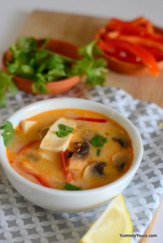 Thai Coconut Soup, a shortcut method for tom kha#vegan...gf if use gf Thai red curry sauce...