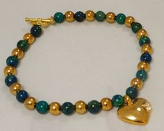 Gold Bead and Agate Anklet / Green Agate Anklet / by SunMoonJewels