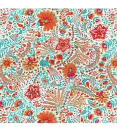 Dena Home Print Fabric-Peaceful Perch/Sherbet