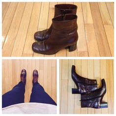 "Italian Leather Brown Boots Very comfortable boots with zipper sides! Heel is 2 1/2"" high. Boot height from floor to top is 8"". Worn, but in decent condition! (Some scuffs on toes in front.) Size 7.5 and medium width. Brand is Footnotes by Hausman. Footnotes Shoes Heeled Boots"