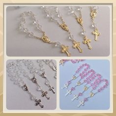 24 Mini rosaries approximately 4 long Baptism by Nandospartysupply