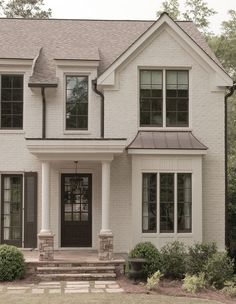 Close up of the entryway of the home. Window Design, Wall Design, House Design, New England Homes, New Homes, East Wood, Traditional Exterior, House 2, House Painting