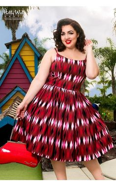 Jenny Dress in Red and Chocolate Brown Harlequin Print - Plus Size