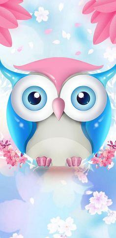 Cute Owls Wallpaper, Flower Phone Wallpaper, Heart Wallpaper, Cellphone Wallpaper, Wallpaper Iphone Cute, Wallpaper Backgrounds, Owl Clip Art, Owl Art, Paper Owls