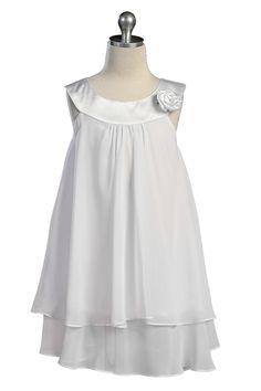 fbb847f33a2b8 White Satin bib necklin & chiffon A-line flower girl dress K255W $29.95  on
