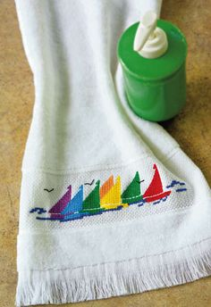 Sailboat Towel - Crafts 'n things ~ need to get back to cross stitch!