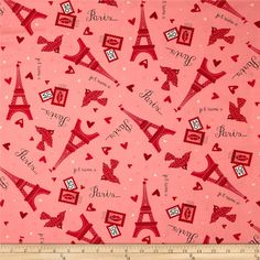 Moda Kiss Kiss Paris Love Blush from @fabricdotcom  Designed by Abi Hall for Moda, this cotton print is perfect for quilting, apparel and home decor accents. Colors include red, pink, black, and white.