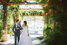 Photos from a real vineyard wedding at Mount Palomar Winery in Southern California Temecula Wine Country. The happy couple is walking under the archway to the ceremony, and the whole property is covered with greenery, grapes, and blooming flowers. #mountpalomarwinery